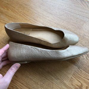 Lucky Brand Gold Leather Flats Aimee Size 6